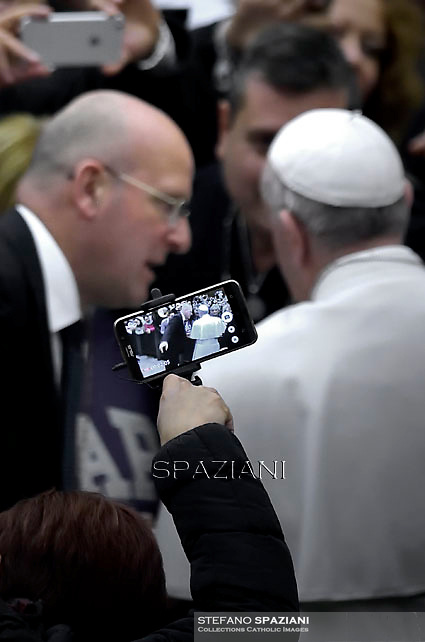 Pope Francis Dott.Giani during general audience at the Paul VI hall at the Vatican,January 20, 2016