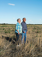 Carla Wyeno and her husband Harry Wyeno on their farm land in Crowley, Colorado, Thursday, May 19, 2016. The Wyenos' sold their water rights in 1976 to pay for their children's college education. As a result, they no longer farmed on land that had been in their family for generations. Crowley County, once a thriving agricultural community with over 50,000 acres of farm land no only farms on 5,000 acres of land after selling most of the water rights for municipal use in Aurora, Colorado.<br /> <br /> Photo by Matt Nager