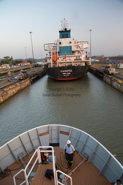 Transiting the Panama Canal on board the small passenger ship the National Geographic Sea Lion, Panama, Central America