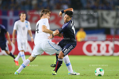 Yohei Toyoda (JPN), <br /> AUGUST 14, 2013 - Football / Soccer : <br /> KIRIN Challenge Cup 2013 match <br /> between Japan 2-4 Uruguay <br /> at Miyagi Stadium, Miyagi, Japan.<br />  (Photo by AFLO SPORT)