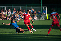 Kansas City, MO - Saturday May 27, 2017: Sydney Leroux, Shelina Zadorsky during a regular season National Women's Soccer League (NWSL) match between FC Kansas City and the Washington Spirit at Children's Mercy Victory Field.