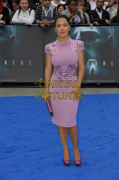 Salma Hayek.'Prometheus' world film premiere, Empire cinema, Leicester Square, London, England..31st May 2012.full length  pink purple dress embellished jewel encrusted clutch bag.CAP/PL.©Phil Loftus/Capital Pictures.