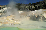 Hydrothermal steam vent from fumaroles and water hot spirng at Bumpass Hell, Lassen Volcaninc National Park, California