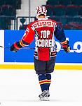 Stockholm 2014-08-21 Ishockey CHL Djurg&aring;rdens IF - Fribourg-Gotteron  :  <br /> Djurg&aring;rdens Joakim Eriksson med en s&auml;rskild matchtr&ouml;ja under matchen och baksidan med texten Cramo Topscorer<br /> (Foto: Kenta J&ouml;nsson) Nyckelord:  Djurg&aring;rden Hockey Hovet CHL Fribourg Gotteron portr&auml;tt portrait