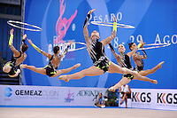 Rhythmic group from israel performs with 5-hoops at 2010 Pesaro World Cup on August 29, 2010 at Pesaro, Italy.  Photo by Tom Theobald.