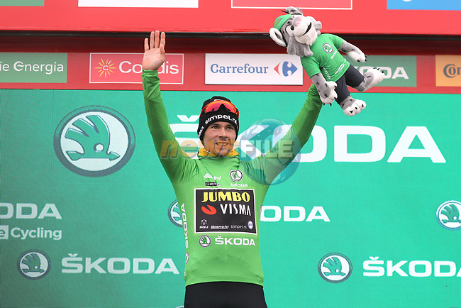 Race leader Primoz Roglic (SLO) Team Jumbo-Visma also retains the points Green Jersey at the end of Stage 16 of La Vuelta 2019  running 144.4km from Pravia to Alto de La Cubilla. Lena, Spain. 9th September 2019.<br /> Picture: Luis Angel Gomez/Photogomezsport | Cyclefile<br /> <br /> All photos usage must carry mandatory copyright credit (© Cyclefile | Luis Angel Gomez/Photogomezsport)