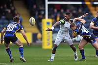 Niko Matawalu of Bath Rugby offloads the ball after being tackled. Aviva Premiership match, between Worcester Warriors and Bath Rugby on February 13, 2016 at Sixways Stadium in Worcester, England. Photo by: Patrick Khachfe / Onside Images