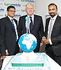 Boris Johnson <br /> Mayor of London <br /> visits Lycamobile Global HQ in Docklands, London, Great Britain <br /> 21st July 2011 <br /> <br /> <br /> Milind Kangle (Group CEO)<br /> <br /> Boris Johnson <br /> London Mayor<br /> <br /> Subaskaram Allirajah (Group Chairman)<br /> <br /> Photograph by Elliott Franks
