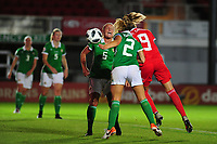 Kayleigh Green of Wales scores her side's second goal during the UEFA Womens Euro Qualifier match between Wales and Northern Ireland at Rodney Parade in Newport, Wales, UK. Tuesday 03, September 2019