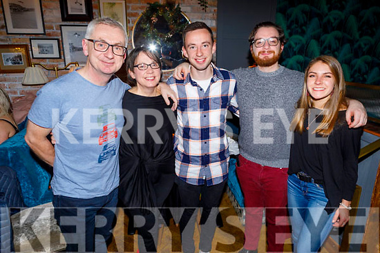 Jessie Stafford Lacey from Tralee celebrating his 22nd birthday in the Ashe Hotel on Saturday.<br /> L to r: Colin Lacey, Mary Rose Stafford, Jessie and Luke Stafford Lacey and Hannah Walsh