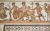 Picture of a Roman mosaics design depicting Dionysus riding a lion, from the ancient Roman city of Thysdrus. 2nd century AD House of the Dionysus Proccession. El Djem Archaeological Museum, El Djem, Tunisia.