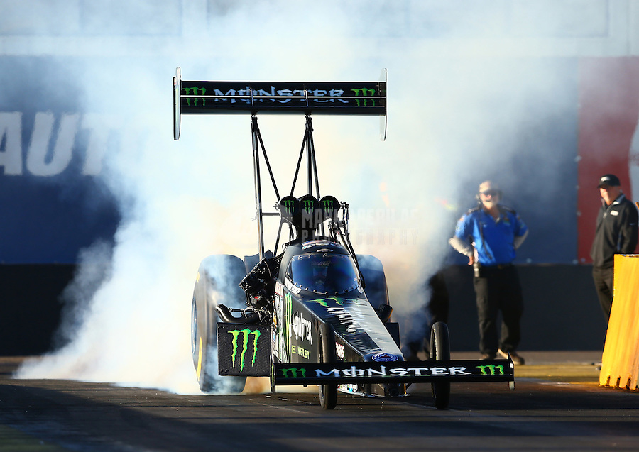 Feb 3, 2016; Chandler, AZ, USA; NHRA top fuel driver Brittany Force during pre season testing at Wild Horse Pass Motorsports Park. Mandatory Credit: Mark J. Rebilas-USA TODAY Sports