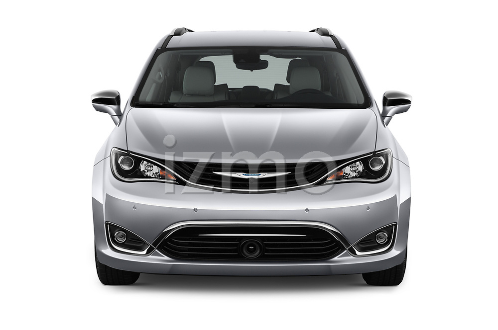 Car photography straight front view of a 2019 Chrysler Pacific Hybrid Limited 5 Door Mini Van