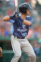 West Michigan Whitecaps left fielder Garrett McCain (10) at bat during a game against the Fort Wayne TinCaps on May 17, 2018 at Parkview Field in Fort Wayne, Indiana.  Fort Wayne defeated West Michigan 7-3.  (Mike Janes/Four Seam Images)