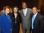 Anne Clutterbuck, Tina and Mathew Knowles and William Paul Thomas at the City of Houston's Birthday Bash at the George R. Brown Convention Center Tuesday Aug. 19,2008.(Dave Rossman/For the Chronicle)
