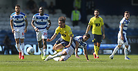 Blackburn Rovers' Bradley Dack is challenged by Queens Park Rangers' Massimo Luongo<br /> <br /> Photographer Rob Newell/CameraSport<br /> <br /> The EFL Sky Bet Championship - Queens Park Rangers v Blackburn Rovers - Friday 19th April 2019 - Loftus Road - London<br /> <br /> World Copyright © 2019 CameraSport. All rights reserved. 43 Linden Ave. Countesthorpe. Leicester. England. LE8 5PG - Tel: +44 (0) 116 277 4147 - admin@camerasport.com - www.camerasport.com
