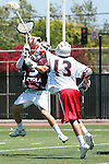 Orange, CA 05/01/10 - Thomas Holman (LMU # 3) and Madison Fiore (Chapman # 13) in action during the LMU-Chapman MCLA SLC semi-final game in Wilson Field at Chapman University.  Chapman advanced to the final by defeating LMU 19-10.