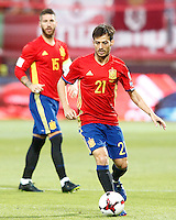 Spain's Sergio Ramos (l) and David Silva during FIFA World Cup 2018 Qualifying Round match. September 5,2016.(ALTERPHOTOS/Acero)