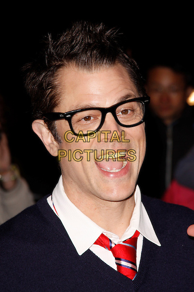 Johnny Knoxville<br /> attend 'Jackass Presents - Bad Grandpa' Gala Screening at the Odeon Covent Garden, London, England.<br /> 9th October 2013<br /> headshot portrait blue sweater jumper top glasses mouth open <br /> CAP/AH<br /> &copy;Adam Houghton/Capital Pictures