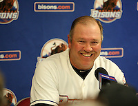 Buffalo Bisons Manager Ken Oberkfell answers questions from the media about facing Stephen Strasburg after a game vs. the Syracuse Chiefs at Coca-Cola Field in Buffalo, New York;  June 3, 2010.  Syracuse defeated Buffalo 7-1.  Photo By Mike Janes/Four Seam Images