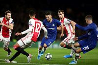 5th November 2019; Stamford Bridge, London, England; UEFA Champions League Football, Chelsea Football Club versus Ajax; Mateo Kovacic of Chelsea takes on the Ajax defence - Editorial Use
