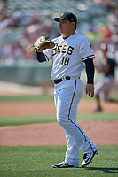 Salt Lake Bees starting pitcher Jose Suarez (18) during a game against the Fresno Grizzlies at Smith's Ballpark on September 3, 2018 in Salt Lake City, Utah. The Grizzlies defeated the Bees 7-6. (Stephen Smith/Four Seam Images)