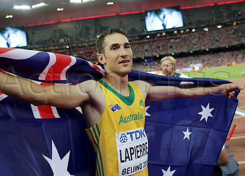 25.08.2015. Beijing, China.  Fabrice Lapierre of Australia celebrates after winning the silver medal in the men's Long Jump final of the Beijing 2015 IAAF World Championships at the National Stadium, also known as Bird's Nest, in Beijing, China, 25 August 2015.