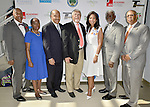 MIAMI GARDENS, FL - MAY 12:Trustee Walter Weatherington, Margaret Porter-Hall,President, Florida Memorial University National Alumni Association, Min. Horace C. Hord,Jr., Trustee John Ruffin, Dr. Roslyn Clark Artis-President of Florida Memorial University and  Chairman Charles W. George attends the Opening of  Florida Memorial University's  Multi-Purpose Arena and Wellness Education Center and the Launch of their Health Matters Movement at Florida Memorial University on Thursday May 12, 2016 in Miami Gardens, Florida.  ( Photo by Johnny Louis / jlnphotography.com )