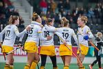 AMSTELVEEN -  Lidewij Welten (DenBosch)  heeft gescoord   tijdens de hoofdklasse hockeywedstrijd dames,  Amsterdam-Den Bosch.   COPYRIGHT KOEN SUYK