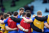 Luke Charteris of Bath Rugby speaks to his team-mates during the pre-match warm-up. Aviva Premiership match, between Harlequins and Bath Rugby on March 2, 2018 at the Twickenham Stoop in London, England. Photo by: Patrick Khachfe / Onside Images