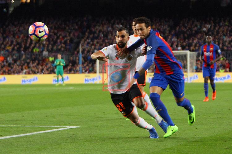 League Santander 2016/2017. Game: 28.<br /> FC Barcelona vs Valencia CF: 4-2.<br /> Neymar vs Martin Montoya.