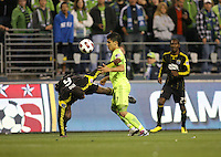 Fredy Montero (17)of the Seattle Sounders FC fights for the ball against Andy Iro (6) of teh Columbus Crew. The Seattle Sounders FC defeated the Columbus Crew 2-1 during the US Open Cup Final at Qwest Field in Seattle,WA, on October 5, 2010.