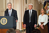 Judge Neil Gorsuch makes remarks after United States President Donald J. Trump announced him as his nominee to be Associate Justice of the US Supreme Court to replace Justice Antonin Scalia in the East Room of the White House in Washington, DC on Tuesday, January 31, 2017.  Gorsuch's wife Marie Louise looks on.<br /> Credit: Ron Sachs / CNP