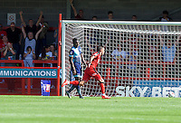 Jimmy Smith of Crawley Town celebrates after scoring the opening goal during the Sky Bet League 2 match between Crawley Town and Wycombe Wanderers at Broadfield Stadium, Crawley, England on 6 August 2016. Photo by Alan  Stanford / PRiME Media Images.