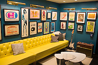 "On the walls of the lobby hang pieces of the memorabilia collection of Boston-area rock historian David Bieber at The Verb Hotel in the Fenway neighborhood of Boston, Massachusetts, USA, on Friday, Dec. 4, 2015. The hotel is considered a ""boutique hotel"" and has collections on display throughout the premises of music memorabilia from the Boston area."