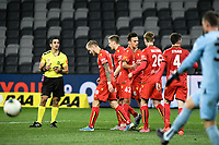 30th July 2020; Bankwest Stadium, Parramatta, New South Wales, Australia; A League Football, Adelaide United versus Perth Glory; Ben Halloran of Adelaide United  celebrates with teammates after scoring to make it 4-1