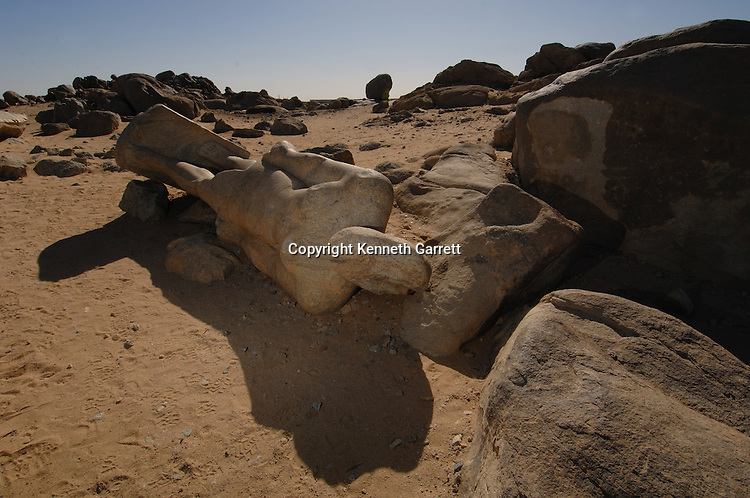 Fallen colossal of Taharka at Tombos quarries, Black Pharaohs, Nubians,Sudan, Kerma, Tombos, Thutmosis I, 3rd Cataract, Nile