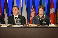 RIO DE JANEIRO-22/06/2012-Presidenta Dilma Rousseff e Ban KI Moon, Secretario Geral da ONU na Cerimonia de Encerramento do Rio 20 no Rio Centro, Barra da Tijuca, zona oeste do Rio.Foto:Marcelo Fonseca-Brazil Photo Press