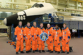 FILE: In this photo released by NASA, The crew members assigned to STS-121 take a break from training for a group shot in the Johnson Space Center's Space Vehicle Mockup Facility in Houston, Texas on March 21, 2006.  From the left are astronauts Thomas Reiter of the European Space Agency, Michael E. Fossum, Piers J. Sellers, Steven W. Lindsey, Mark E. Kelly, Stephanie D. Wilson and Lisa M. Nowak. Lindsey is mission commander and Kelly is pilot, with the other five serving as mission specialists. Once onboard the International Space Station, Reiter, who flew for six months on the Russian space station Mir, will become the first non-American or non-Russian long-duration crewmember on the Station. Joining the Expedition 13 crew, he will fly under a commercial agreement between ESA and Roscosmos.<br /> Credit: NASA via CNP