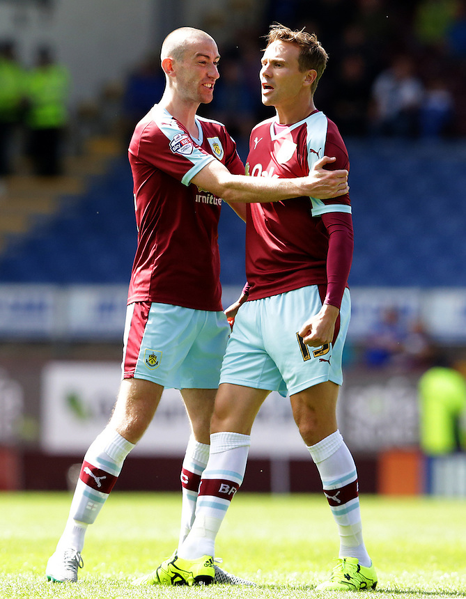 Burnley's Matthew Taylor celebrates scoring his sides second goal with team-mate David Jones<br /> <br /> Photographer Stephen White/CameraSport<br /> <br /> Football - The Football League Sky Bet Championship - Burnley v Birmingham City - Saturday 15th August 2015 - Turf Moor - Burnley<br /> <br /> &copy; CameraSport - 43 Linden Ave. Countesthorpe. Leicester. England. LE8 5PG - Tel: +44 (0) 116 277 4147 - admin@camerasport.com - www.camerasport.com