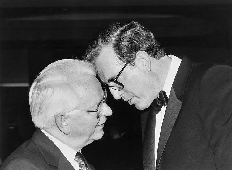 "The Gentleman Senators from West Virgina: Sen. Robert Carlyle ""Bob"" Byrd, D-W.Va. and Sen. John Davison ""Jay"" Rockefeller, R-W.Va. at 28th Annual Democratic Congressional Dinner. April 1991 (Photo by Maureen Keating/CQ Roll Call)"