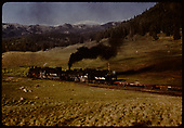 D&amp;RGW #493 K-37 and #481 K-36 double heading with freight cars (2 flat cars).<br /> D&amp;RGW  Chama, NM