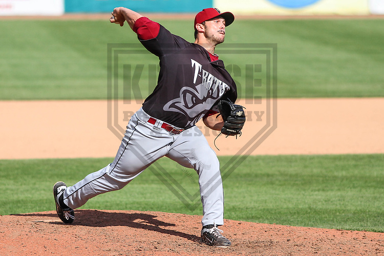 BELOIT - September 2014: Luke Curtis (28) of the Wisconsin Timber Rattlers during a game against the Beloit Snappers on September 1st, 2014 at Pohlman Field in Beloit, Wisconsin.  (Photo Credit: Brad Krause)