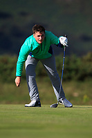 James Sugrue from Ireland on the 9th tee during Round 2 Foursomes of the Men's Home Internationals 2018 at Conwy Golf Club, Conwy, Wales on Thursday 13th September 2018.<br /> Picture: Thos Caffrey / Golffile<br /> <br /> All photo usage must carry mandatory copyright credit (&copy; Golffile | Thos Caffrey)