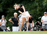 NWA Democrat-Gazette/CHARLIE KAIJO Bentonville girls golfer, Lilly Thomas, tees off during a golf tournament, Thursday, September 6, 2018 at the Bella Vista Country Club in Bella Vista. <br />