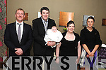 CELEBRATION: Little Fiona O'Sullivan who was christened in St Patrick's Church, Kilgarvan, on Saturday by Fr O'Neill, pictured with her parents Paul O'Sullivan and Julie Creedon and her godparents Philip Healy and Brigid O'Sullivan celebrating afterwards in the Brook Lane Hotel, Kenmare.