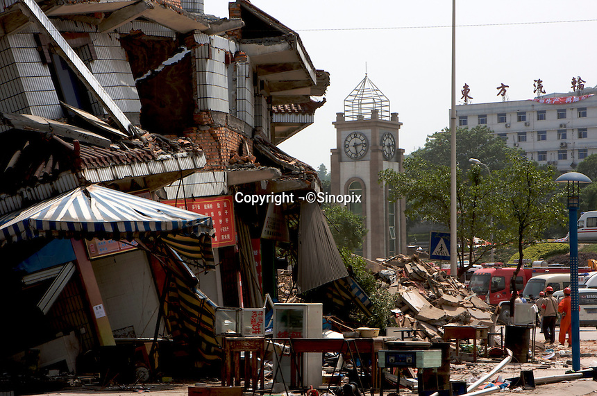 The clock stopped at 1428 is seen in Hanwang town, Mianzhu city, Sichuan, China. The 8 magnitude earthquake happened at 14:28pm on 12 May 2008, with the epicenter in Wenchuan County, about 159km NW of Chengdu, Sichuan, China.