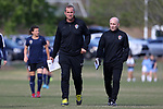 CARY, NC - APRIL 08: Courage head coach Paul Riley (ENG) (right) with assistant coach Scott Vallow (left). The NWSL's North Carolina Courage played a preseason game against the University of North Carolina Tar Heels on April 8, 2017, at WakeMed Soccer Park Field 3 in Cary, NC. The Courage won the match 1-0.