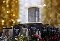 Pictured: A coil of wire used for the manufacturing of tinsel. Thursday 16 November 2017<br /> Re: Festive company which manufactures tinsel in Cwmbran, Wales, UK.