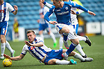 Kilmarnock v St Johnstone...19.09.15  SPFL Rugby Park, Kilmarnock<br /> Lee Ashcroft handles tha ball in the box after tackling Michael O'Halloran<br /> Picture by Graeme Hart.<br /> Copyright Perthshire Picture Agency<br /> Tel: 01738 623350  Mobile: 07990 594431